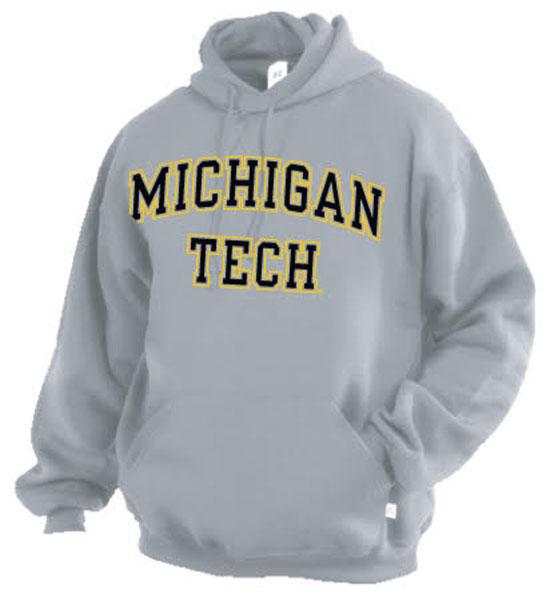 Michigan Technological University: #09j Hood Michigan/Tech Screen Printed From Russell